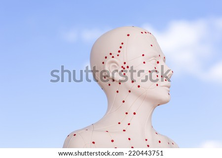 Chinese acupuncture puppet against blue sky - stock photo
