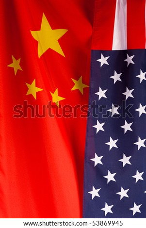 Chinese American partnership concept. Two flags together