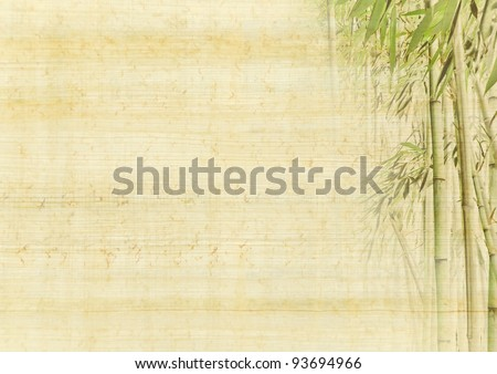 Chinese ancient background with bamboo. Japanese manuscript - grunge antique paper texture. - stock photo