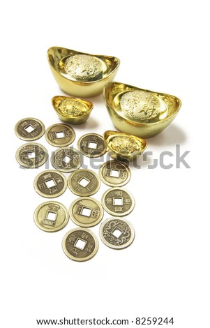 Chinese Ancient Coins and Gold Ingots on White Background - stock photo