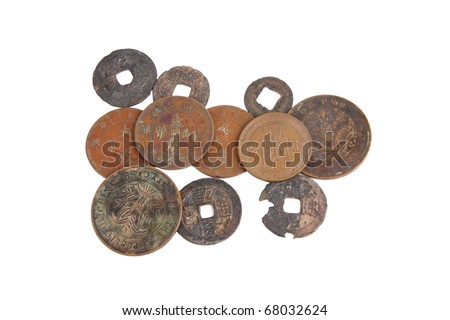 chinese ancient currency from qing dynasty - stock photo