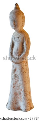 Chinese ancient woman statue - Tang dynasty - stock photo