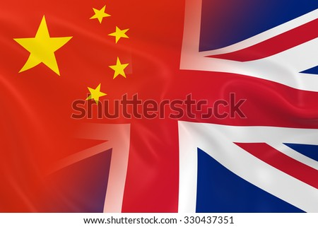 Chinese and British Relations Concept Image - Flags of China and the United Kingdom Fading Together - stock photo