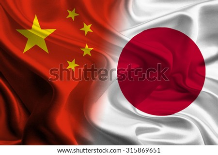 Chinese and Japanese Flags joining together concept - stock photo