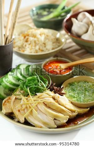 Chinese and Vietnam famous Com Ga Hai Nam. Hainan Chicken Rice dish - stock photo