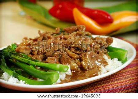 Chinese and Vietnamese food on table - stock photo