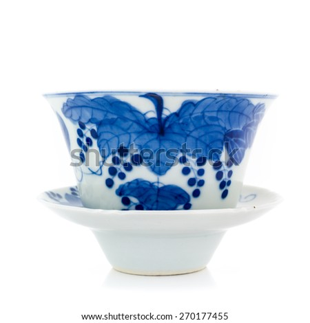 Chinese antique blue and white tea bowl, cover and saucer, Museum quality on white background  - stock photo