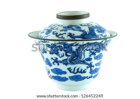 Chinese Antique bowl on white background,isolated - stock photo