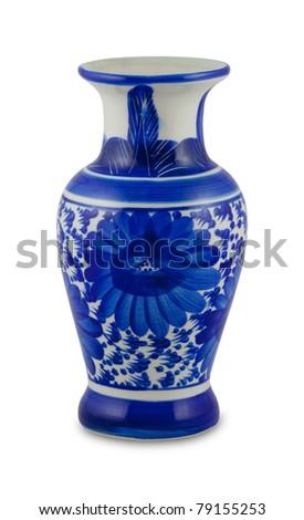 chinese antique vase on the plain back ground - stock photo