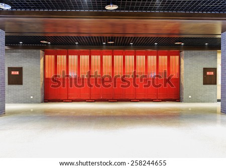 chinese architecture with red door - stock photo