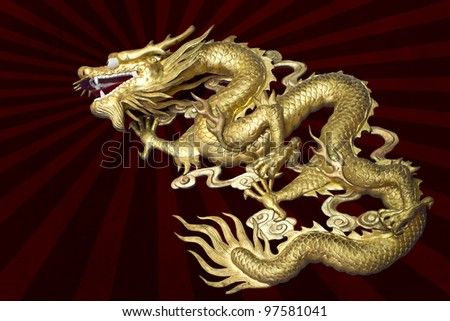 Chinese art, Dragon on Sun graphic background - stock photo