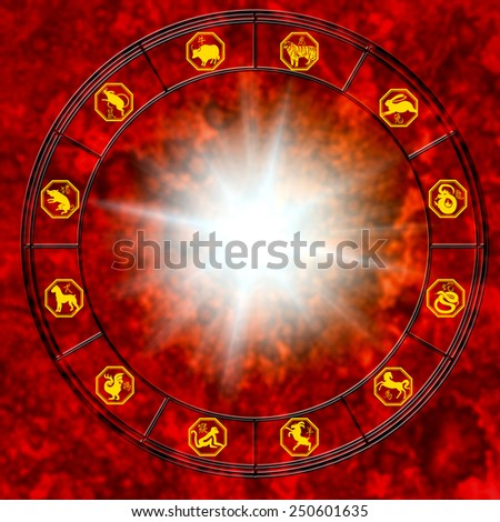 chinese astrology wheel with all signs - stock photo