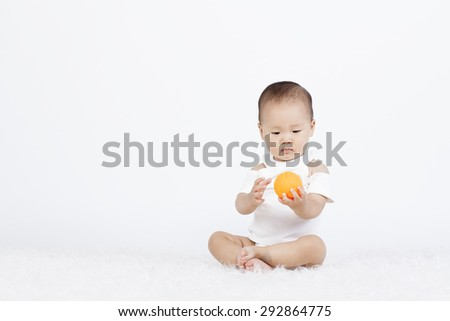 Chinese baby on a white background