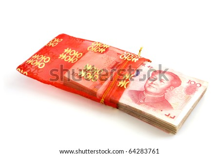 Chinese banknotes in red envelope - stock photo