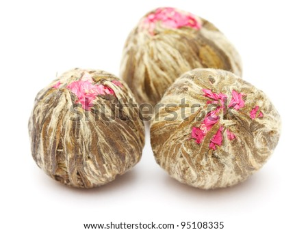 Chinese blooming tea isolated on white background - stock photo