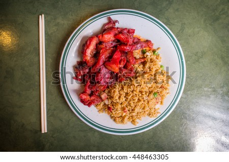Chinese boneless bbq spare ribs with pork fried rice