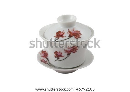 chinese bowl, cover and saucer with red floral ornament isolated on white