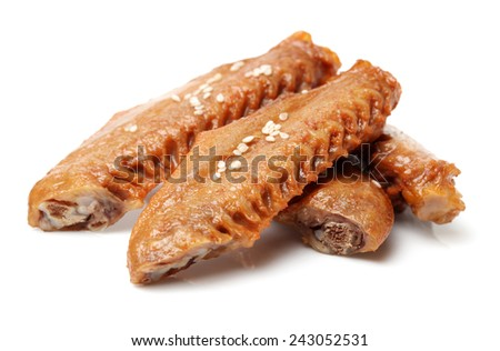 Chinese Braised Duck Wings On White Background - stock photo