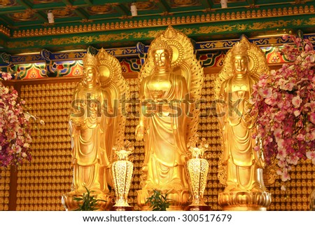 Chinese Buddha of a Chinese temple in Thailand. - stock photo