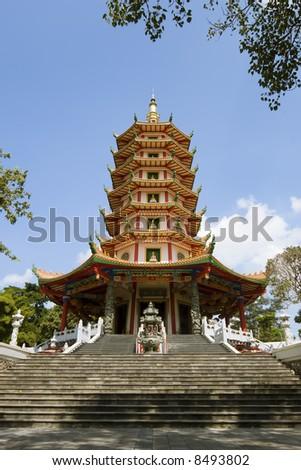 chinese buddhist pagoda vertical format - stock photo