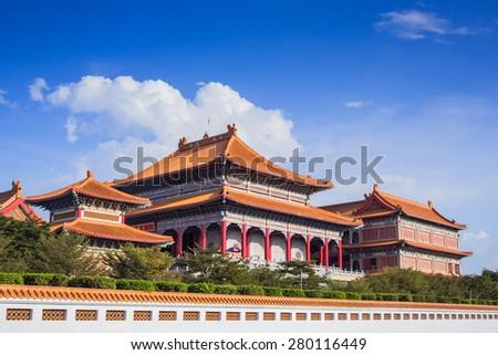 """Chinese Buddhist temple in Bangkok names """"Wat Mangkon Kamalawat"""" or """"Wat Leng Noei Yi"""", taken at sunny day - stock photo"""