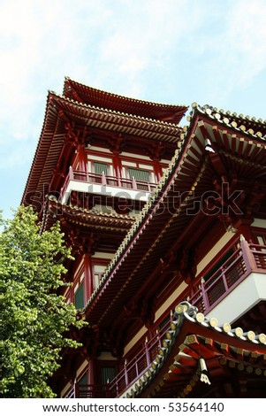 chinese buddhist temple in singapores chinatown district - stock photo