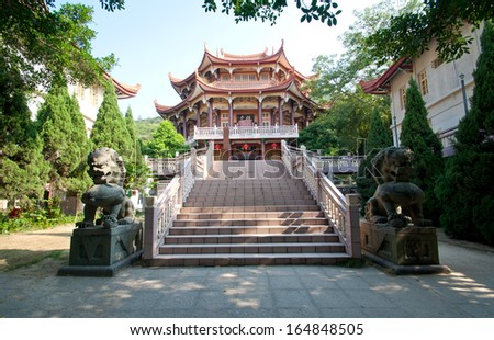 Chinese Buddhist Temple in Xiamen, China - stock photo