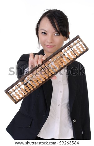 Chinese business girl holding traditional abacus and smiling, closeup portrait on white background. - stock photo