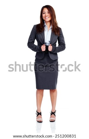 Chinese Business woman isolated over white background