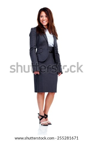 Chinese Business woman isolated over white background - stock photo