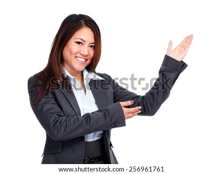 Chinese Business woman presenting copy space background - stock photo