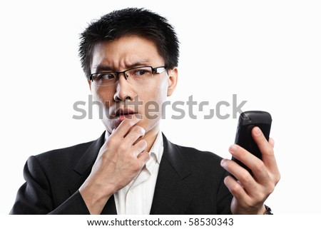 Chinese businessman curious expression when using video call, isolated on white background