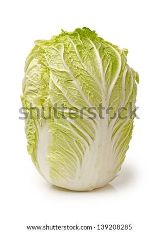 Chinese cabbage on white background - stock photo