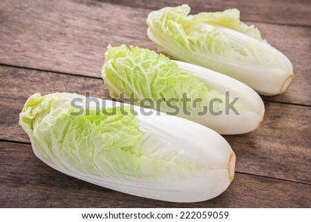 Chinese cabbage on wooden table