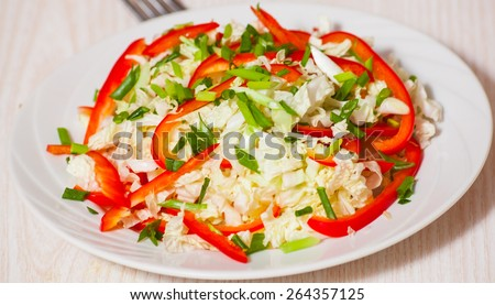 Chinese cabbage salad with red bell pepper - stock photo