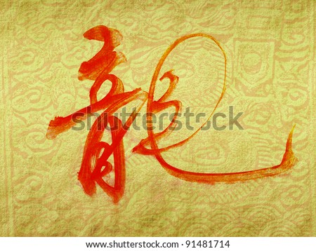 chinese calligraphy dragon year on Old antique vintage paper background