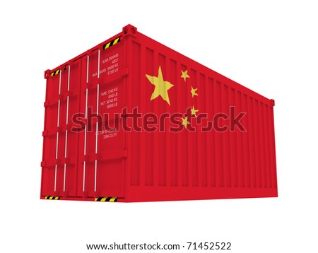 Chinese cargo container isolated on white - stock photo