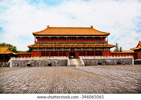 Chinese Castle Building in Forbidden City, China