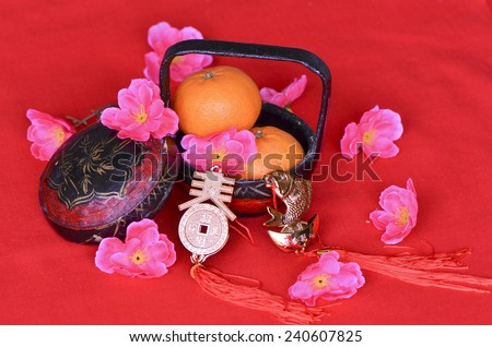Chinese characters representing prosperity and fortune / Auspicious ornaments / Chinese new year background - stock photo