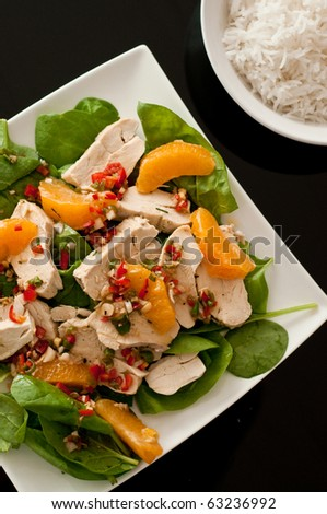 Chinese chicken salad with white rice - stock photo