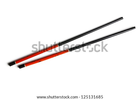 chinese chopsticks on white background - stock photo