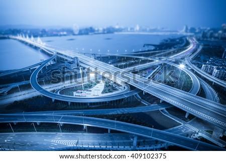 Chinese cities, bridges, night - stock photo
