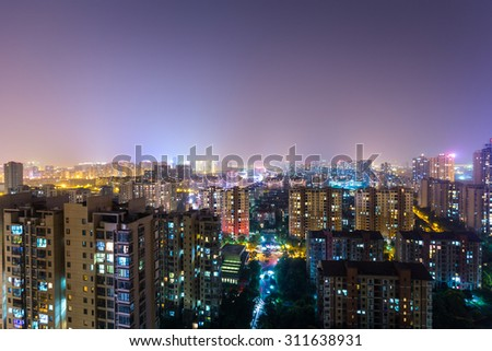 Chinese city apartment building at night