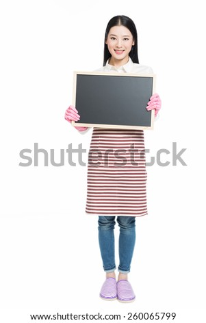 chinese cleaning woman showing sign poster cleaning isolated on white background. - stock photo