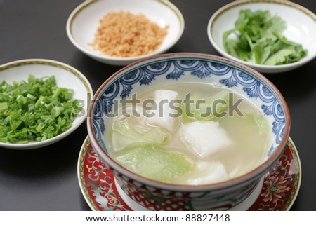 Chinese cod & gourd soup - stock photo