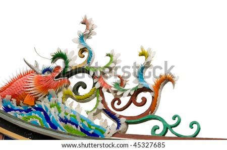 Chinese color monster fish decoration on roof in white background..