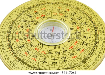 Chinese compass closeup with chinese character - stock photo
