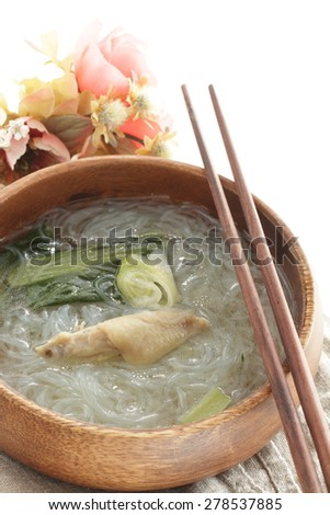 Chinese cuisine, chicken wing and vermicelli Soup - stock photo