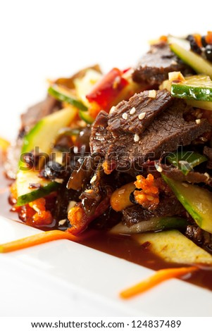 Chinese Cuisine  - Meat with Black Fungus and Sliced Vegetables - stock photo