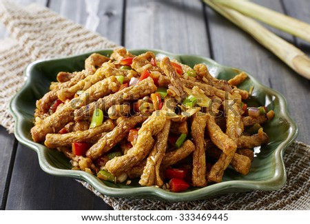 Chinese Cuisine,overhead view of colorful stir fry  - stock photo